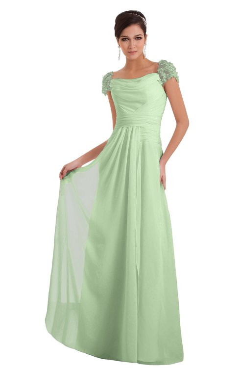 ColsBM Carlee Pale Green Elegant A-line Wide Square Short Sleeve Appliques Bridesmaid Dresses