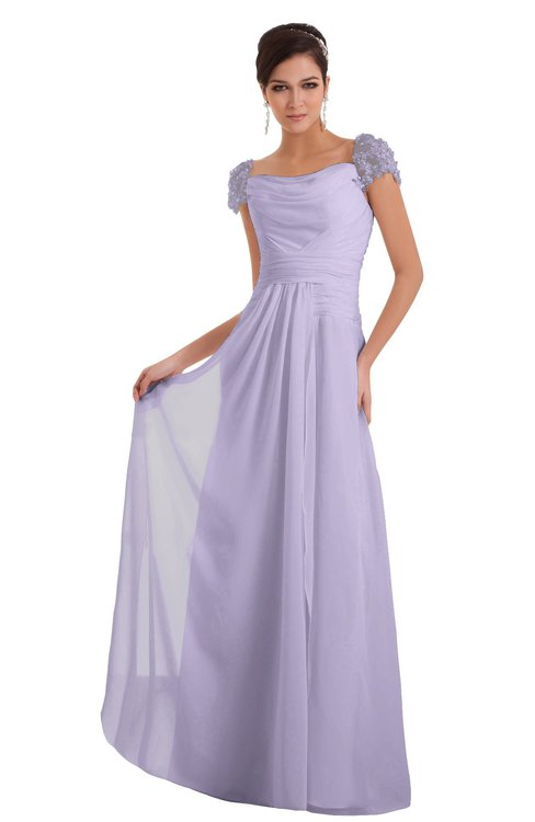 ColsBM Carlee Pastel Lilac Elegant A-line Wide Square Short Sleeve Appliques Bridesmaid Dresses