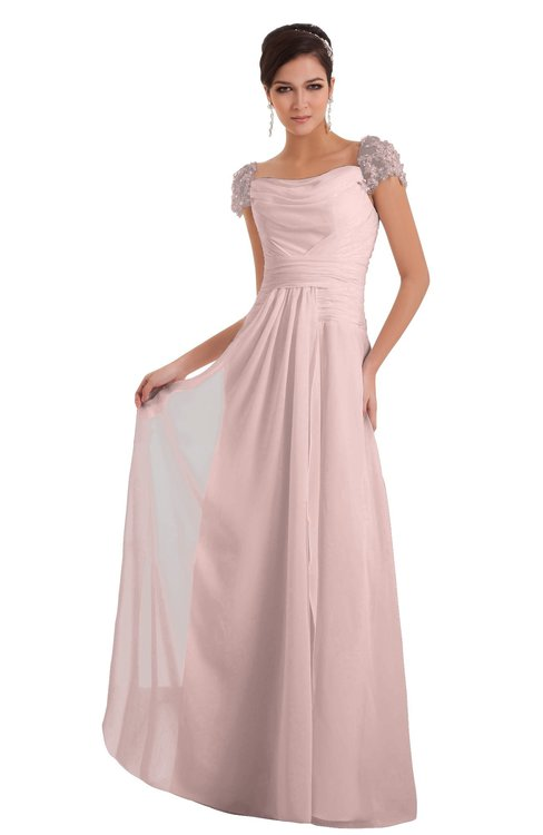 ColsBM Carlee Pastel Pink Elegant A-line Wide Square Short Sleeve Appliques Bridesmaid Dresses