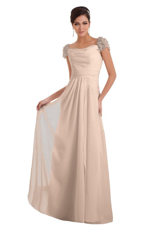 ColsBM Carlee Peach Puree Elegant A-line Wide Square Short Sleeve Appliques Bridesmaid Dresses