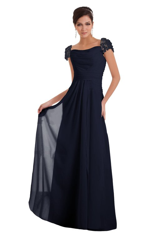 ColsBM Carlee Peacoat Elegant A-line Wide Square Short Sleeve Appliques Bridesmaid Dresses