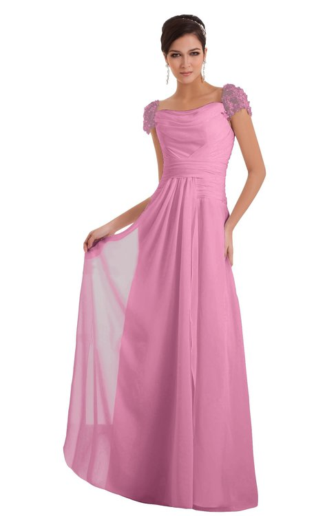 ColsBM Carlee Pink Elegant A-line Wide Square Short Sleeve Appliques Bridesmaid Dresses