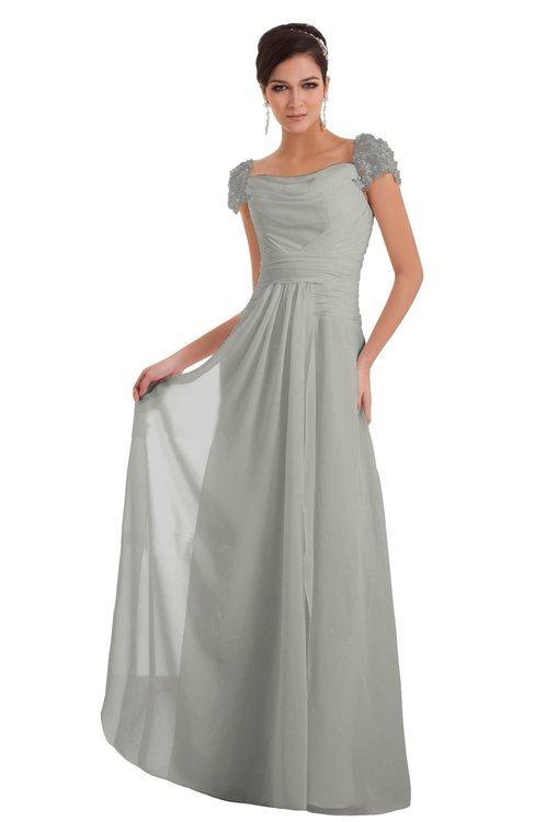ColsBM Carlee Platinum Elegant A-line Wide Square Short Sleeve Appliques Bridesmaid Dresses