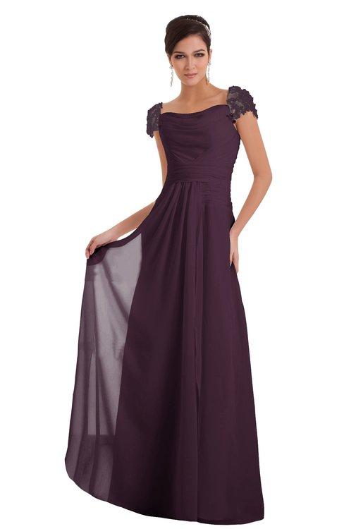 ColsBM Carlee Plum Elegant A-line Wide Square Short Sleeve Appliques Bridesmaid Dresses