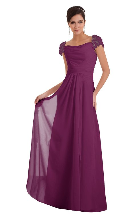 ColsBM Carlee Raspberry Elegant A-line Wide Square Short Sleeve Appliques Bridesmaid Dresses