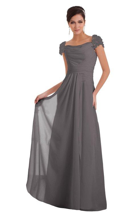 ColsBM Carlee Ridge Grey Elegant A-line Wide Square Short Sleeve Appliques Bridesmaid Dresses