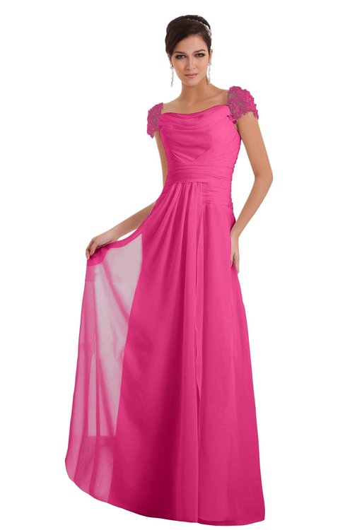ColsBM Carlee Rose Pink Elegant A-line Wide Square Short Sleeve Appliques Bridesmaid Dresses