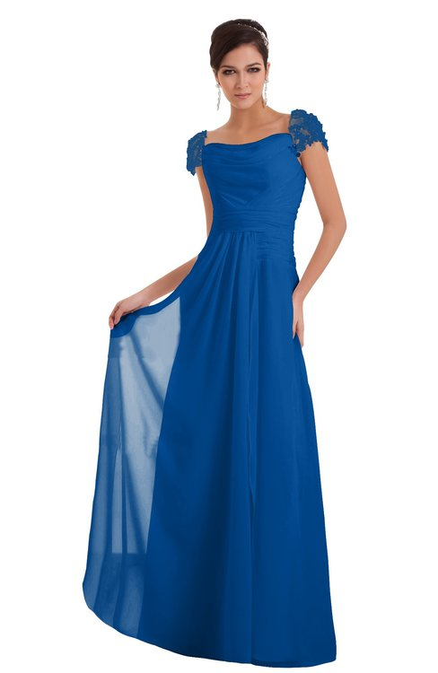 ColsBM Carlee Royal Blue Elegant A-line Wide Square Short Sleeve Appliques Bridesmaid Dresses