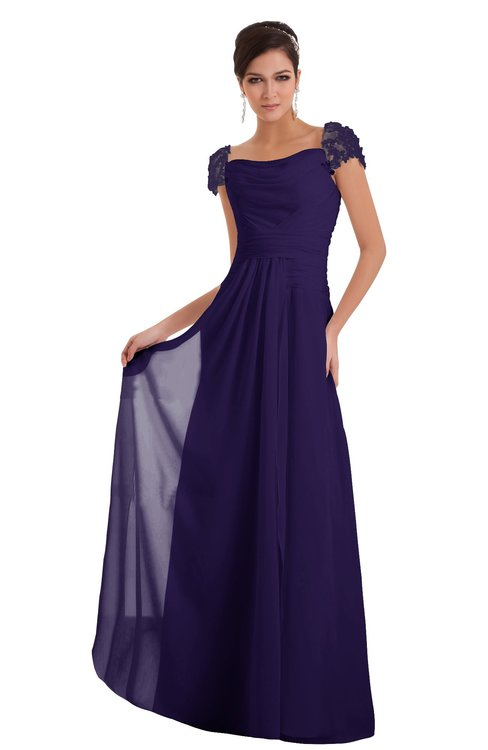 ColsBM Carlee Royal Purple Elegant A-line Wide Square Short Sleeve Appliques Bridesmaid Dresses