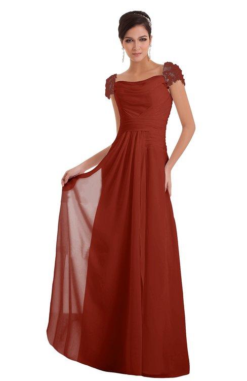 ColsBM Carlee Rust Elegant A-line Wide Square Short Sleeve Appliques Bridesmaid Dresses