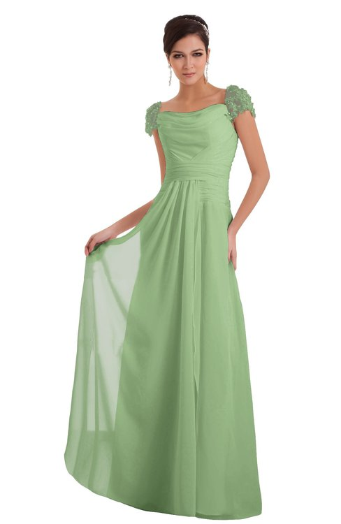ColsBM Carlee Sage Green Elegant A-line Wide Square Short Sleeve Appliques Bridesmaid Dresses