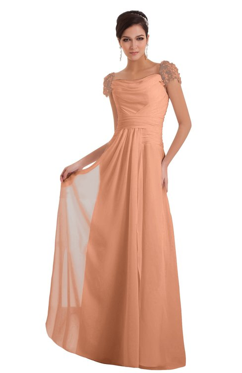 ColsBM Carlee Salmon Elegant A-line Wide Square Short Sleeve Appliques Bridesmaid Dresses