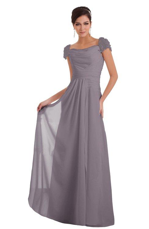 ColsBM Carlee Sea Fog Elegant A-line Wide Square Short Sleeve Appliques Bridesmaid Dresses