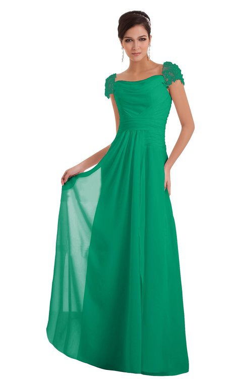 ColsBM Carlee Sea Green Elegant A-line Wide Square Short Sleeve Appliques Bridesmaid Dresses