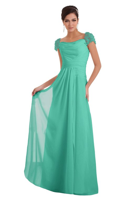 ColsBM Carlee Seafoam Green Elegant A-line Wide Square Short Sleeve Appliques Bridesmaid Dresses