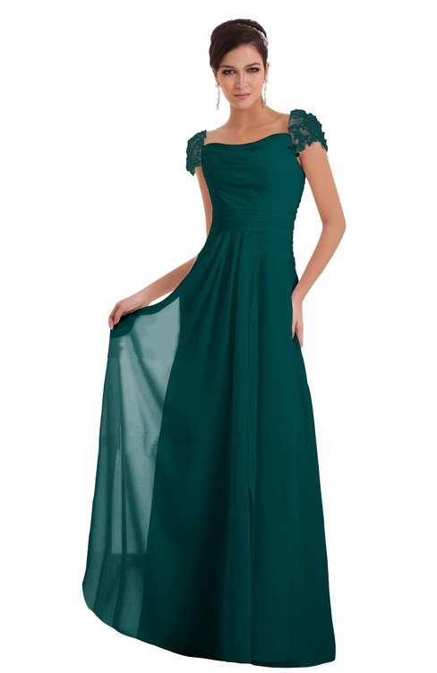 ColsBM Carlee Shaded Spruce Elegant A-line Wide Square Short Sleeve Appliques Bridesmaid Dresses