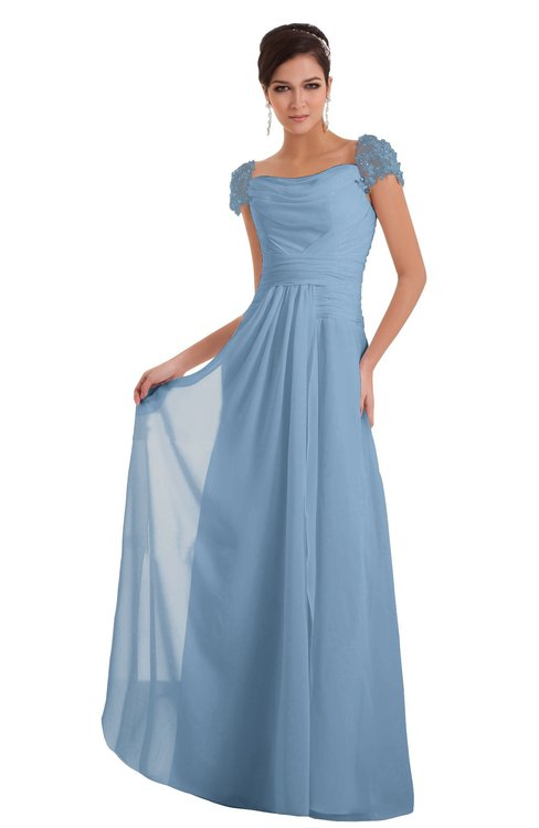 ColsBM Carlee Sky Blue Elegant A-line Wide Square Short Sleeve Appliques Bridesmaid Dresses