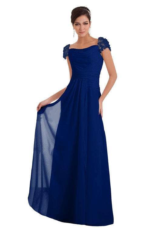 ColsBM Carlee Sodalite Blue Elegant A-line Wide Square Short Sleeve Appliques Bridesmaid Dresses