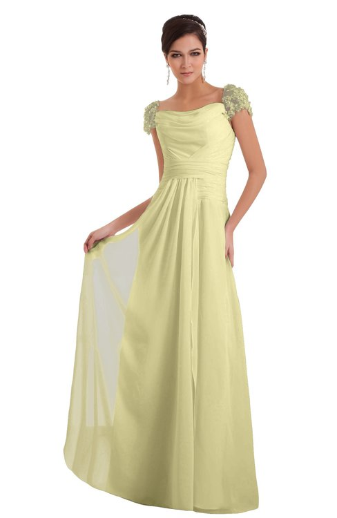 ColsBM Carlee Soft Yellow Elegant A-line Wide Square Short Sleeve Appliques Bridesmaid Dresses