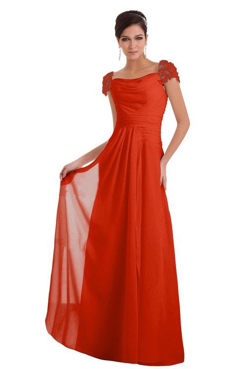 ColsBM Carlee Tangerine Tango Elegant A-line Wide Square Short Sleeve Appliques Bridesmaid Dresses