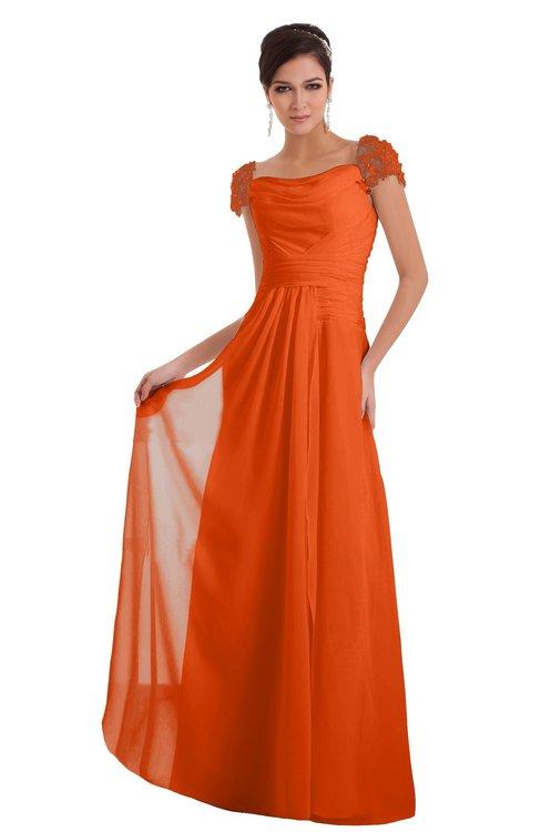 ColsBM Carlee Tangerine Elegant A-line Wide Square Short Sleeve Appliques Bridesmaid Dresses
