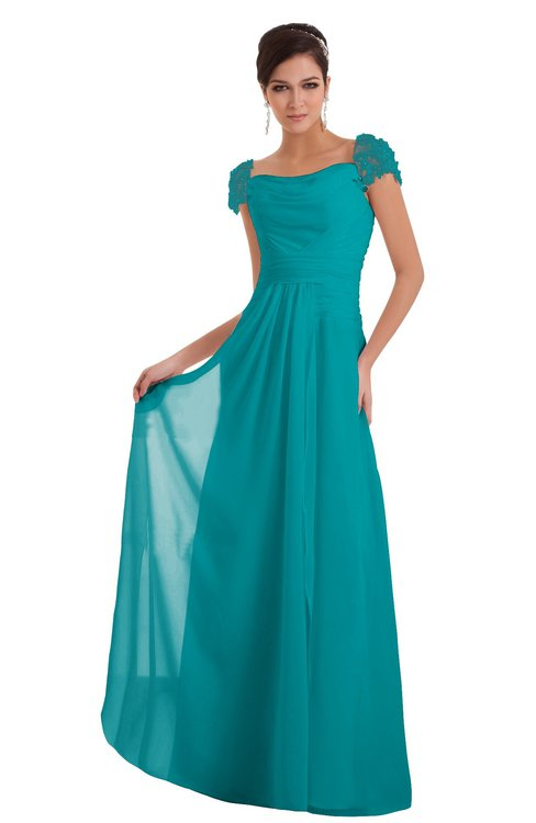 ColsBM Carlee Teal Elegant A-line Wide Square Short Sleeve Appliques Bridesmaid Dresses