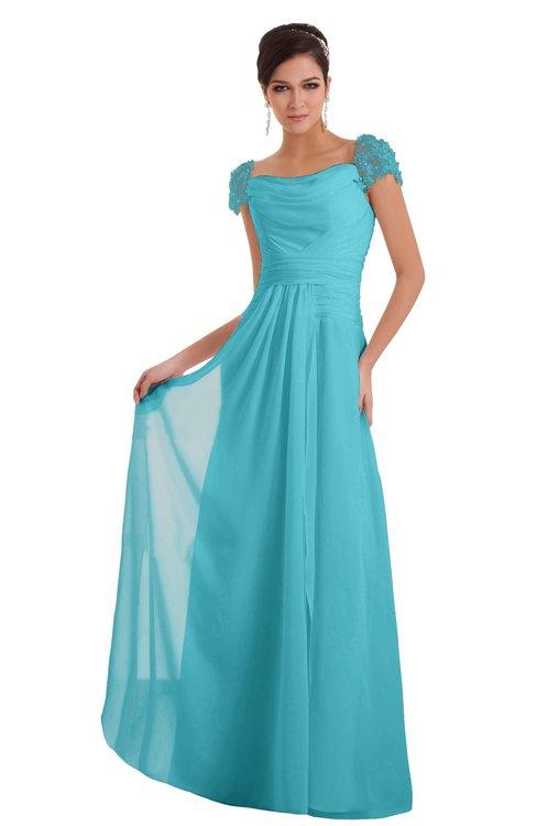 ColsBM Carlee Turquoise Elegant A-line Wide Square Short Sleeve Appliques Bridesmaid Dresses