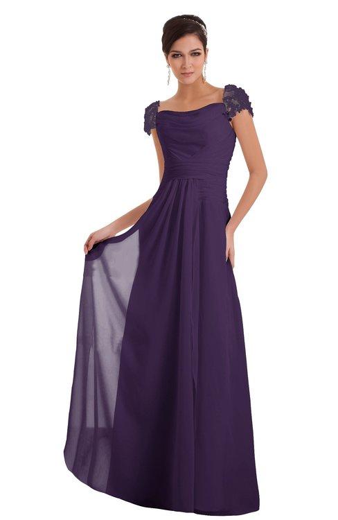 ColsBM Carlee Violet Elegant A-line Wide Square Short Sleeve Appliques Bridesmaid Dresses
