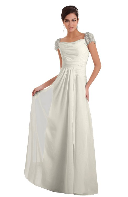ColsBM Carlee Whisper White Elegant A-line Wide Square Short Sleeve Appliques Bridesmaid Dresses