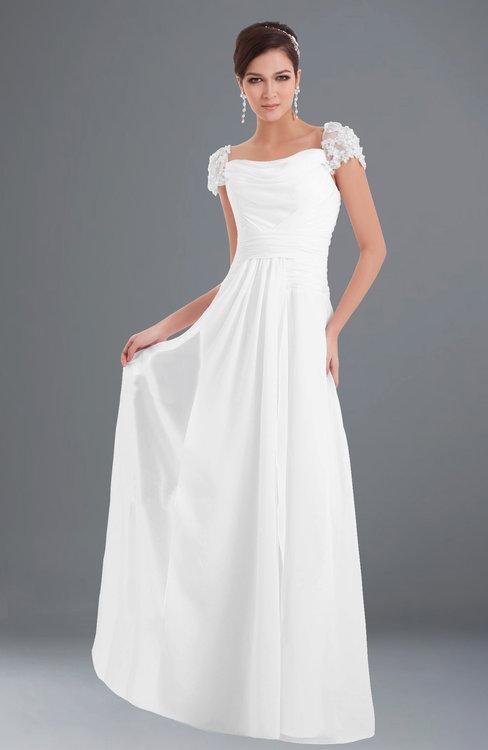 ColsBM Carlee White Elegant A-line Wide Square Short Sleeve Appliques Bridesmaid Dresses