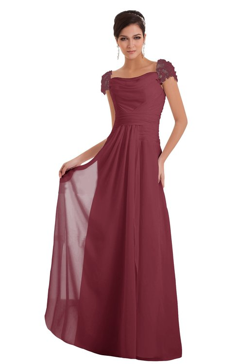 ColsBM Carlee Wine Elegant A-line Wide Square Short Sleeve Appliques Bridesmaid Dresses