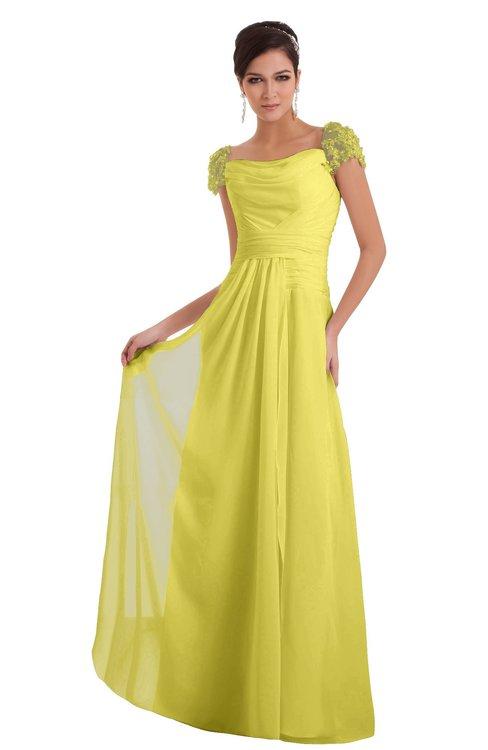 ColsBM Carlee Yellow Iris Elegant A-line Wide Square Short Sleeve Appliques Bridesmaid Dresses