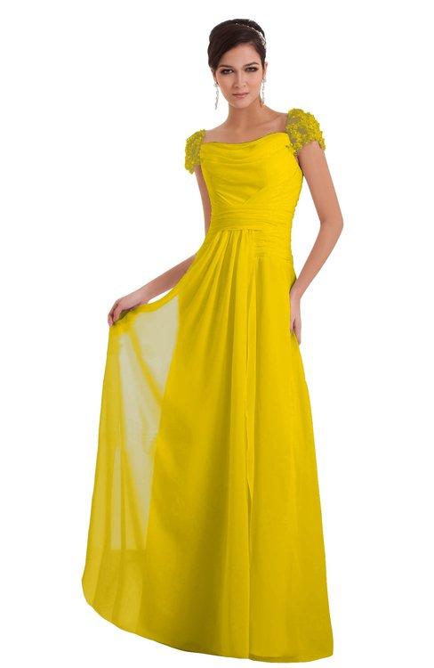 ColsBM Carlee Yellow Elegant A-line Wide Square Short Sleeve Appliques Bridesmaid Dresses