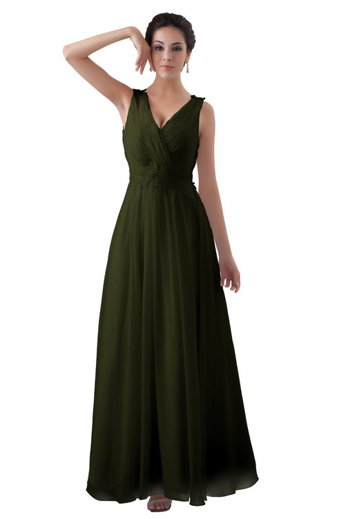 ColsBM Kalani Beech Modern A-line V-neck Zipper Floor Length Plus Size Bridesmaid Dresses