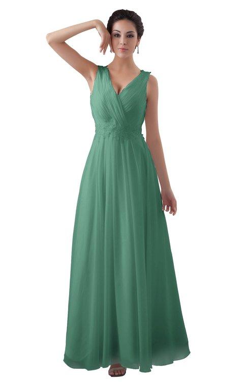 ColsBM Kalani Beryl Green Modern A-line V-neck Zipper Floor Length Plus Size Bridesmaid Dresses