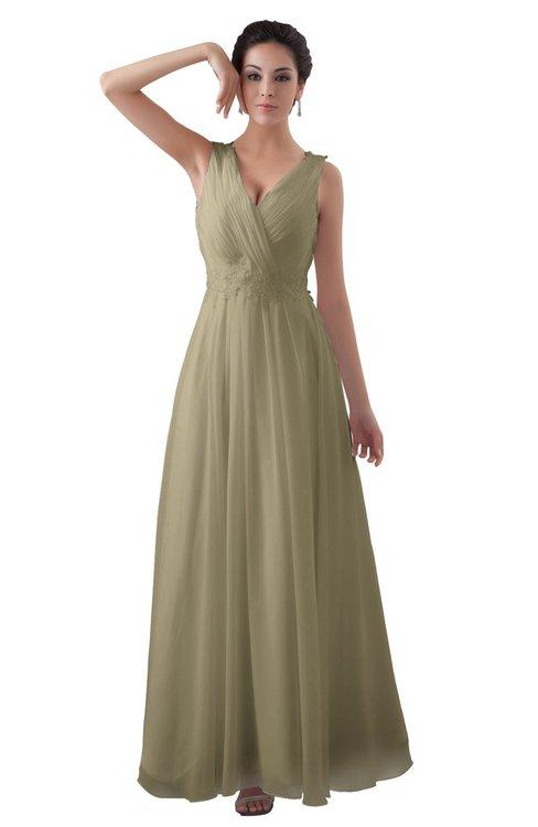 ColsBM Kalani Candied Ginger Modern A-line V-neck Zipper Floor Length Plus Size Bridesmaid Dresses
