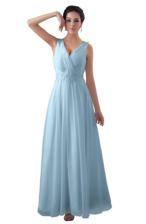 ColsBM Kalani Ice Blue Modern A-line V-neck Zipper Floor Length Plus Size Bridesmaid Dresses