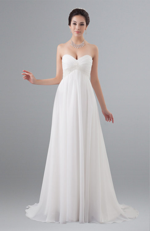 ColsBM Adelyn White Fairytale Church Empire Sleeveless Zip up Court Train Plus Size Bridal Gowns