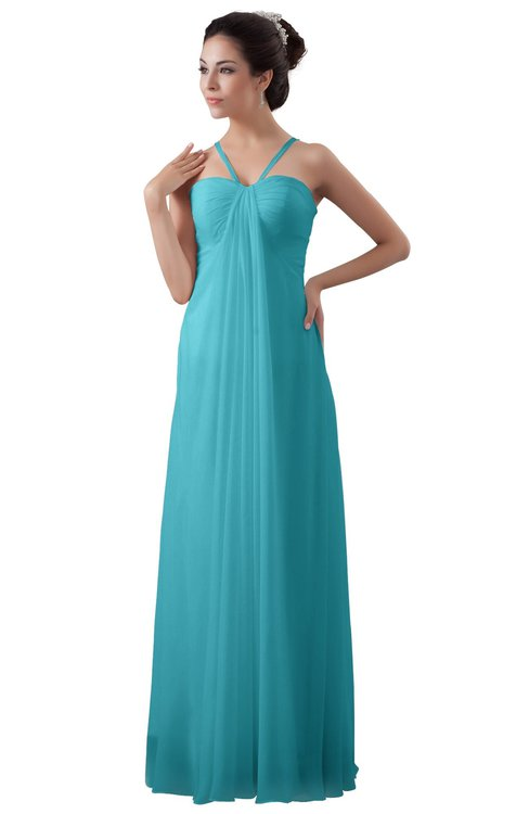 ColsBM Erin Turquoise Informal A-line Spaghetti Sleeveless Floor Length Ruching Plus Size Bridesmaid Dresses