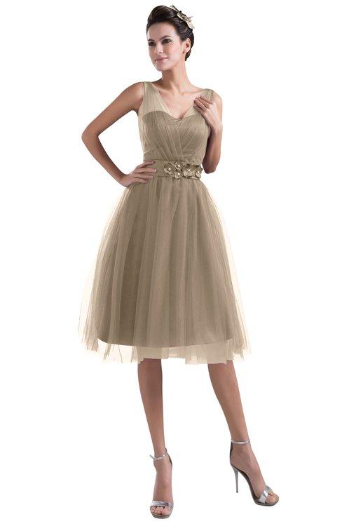 ColsBM Ashley Almondine Brown Plain Illusion Zipper Knee Length Flower Plus Size Bridesmaid Dresses