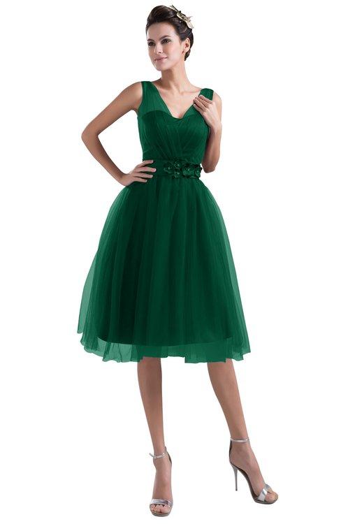 ColsBM Ashley Alpine Green Plain Illusion Zipper Knee Length Flower Plus Size Bridesmaid Dresses