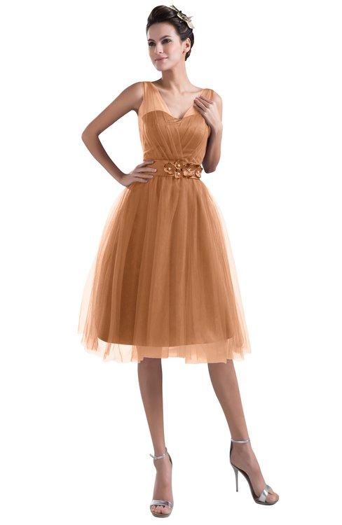 ColsBM Ashley Amber Plain Illusion Zipper Knee Length Flower Plus Size Bridesmaid Dresses