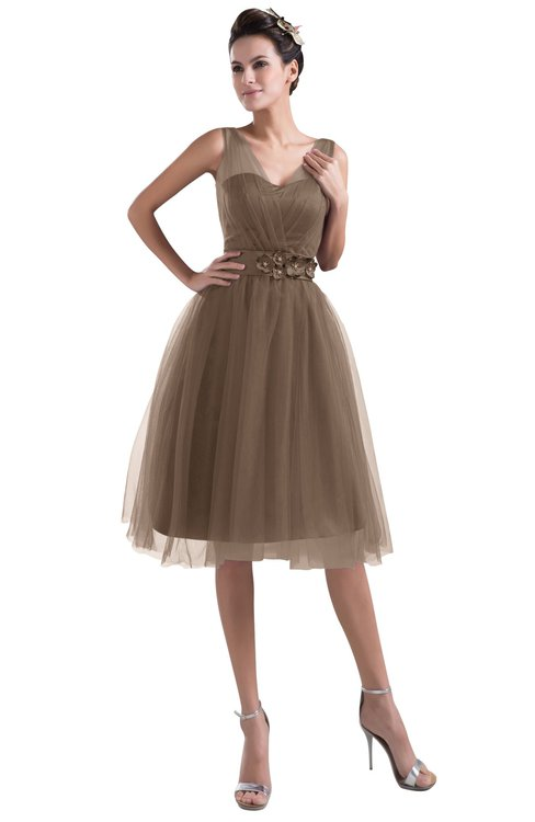 ColsBM Ashley Bronze Brown Plain Illusion Zipper Knee Length Flower Plus Size Bridesmaid Dresses