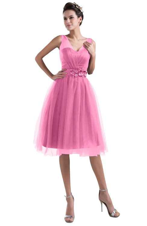 ColsBM Ashley Carnation Pink Plain Illusion Zipper Knee Length Flower Plus Size Bridesmaid Dresses