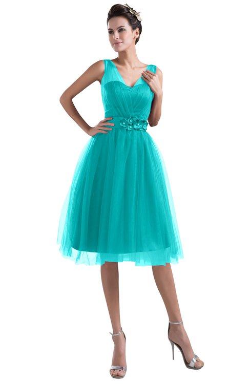 ColsBM Ashley Ceramic Plain Illusion Zipper Knee Length Flower Plus Size Bridesmaid Dresses