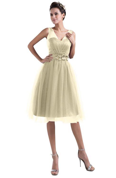 ColsBM Ashley Champagne Plain Illusion Zipper Knee Length Flower Plus Size Bridesmaid Dresses