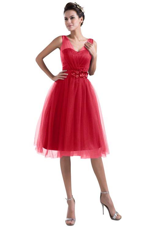 ColsBM Ashley Chinese Red Plain Illusion Zipper Knee Length Flower Plus Size Bridesmaid Dresses