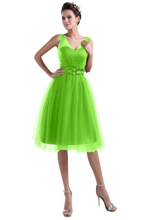 ColsBM Ashley Classic Green Plain Illusion Zipper Knee Length Flower Plus Size Bridesmaid Dresses
