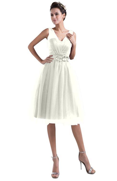 ColsBM Ashley Cream Plain Illusion Zipper Knee Length Flower Plus Size Bridesmaid Dresses