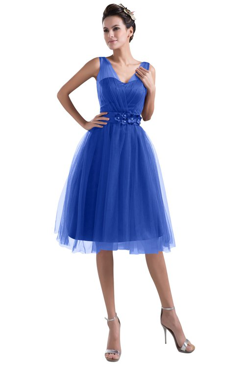 ColsBM Ashley Dazzling Blue Plain Illusion Zipper Knee Length Flower Plus Size Bridesmaid Dresses